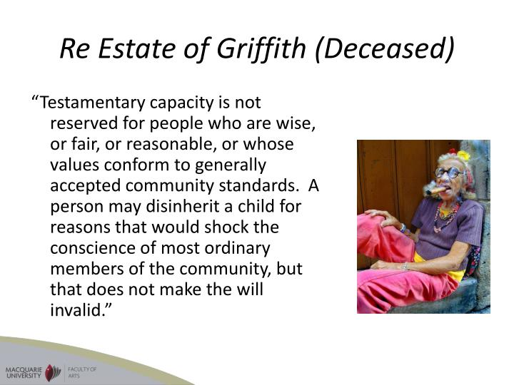 Re Estate of Griffith (Deceased)