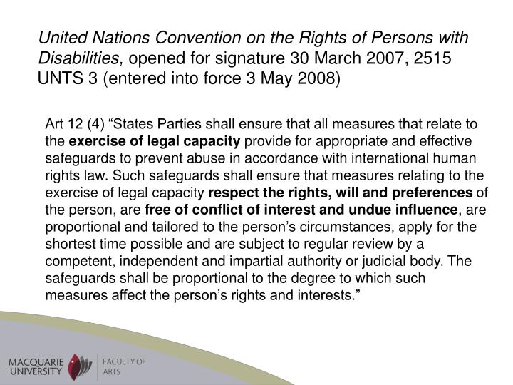 United Nations Convention on the Rights of Persons with Disabilities,