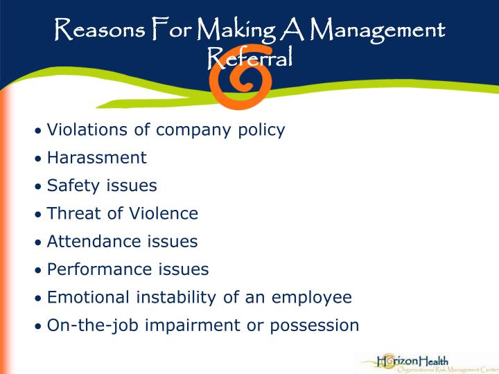 Reasons For Making A Management Referral