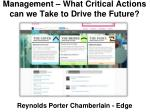 management what critical actions can we take to drive the future