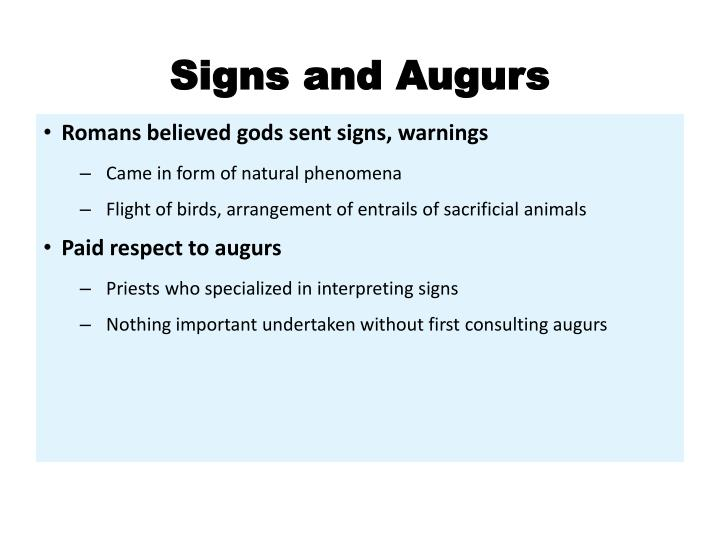 Signs and Augurs