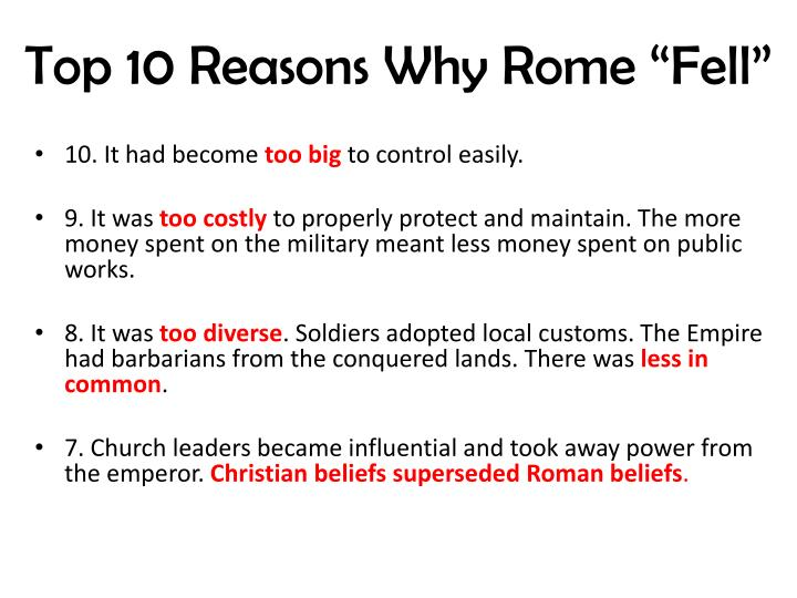 """Top 10 Reasons Why Rome """"Fell"""""""