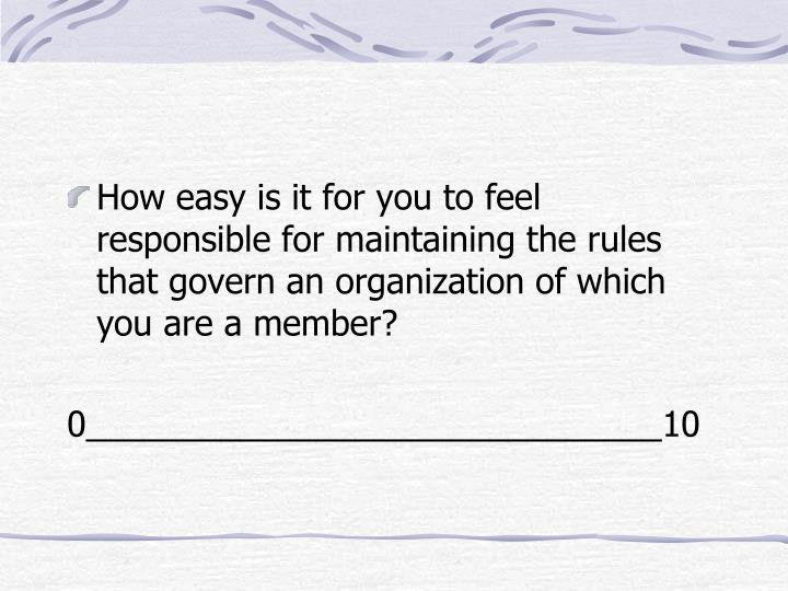 How easy is it for you to feel responsible for maintaining the rules that govern an organization of which you are a member?