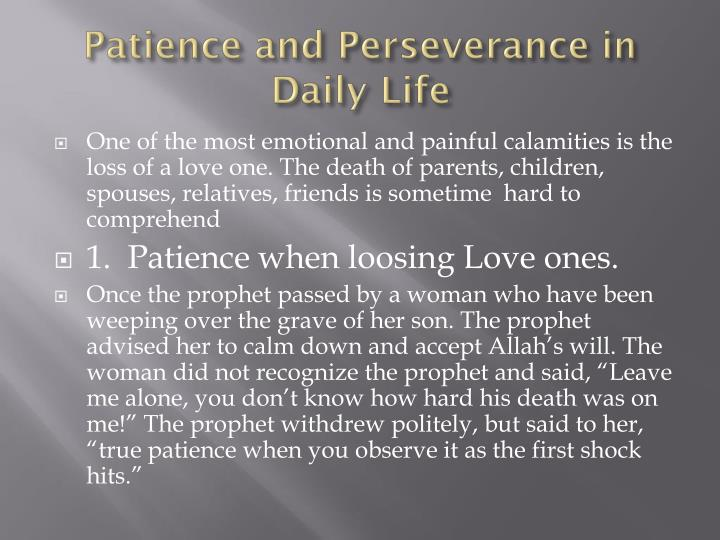 patience and perseverance in daily life n.