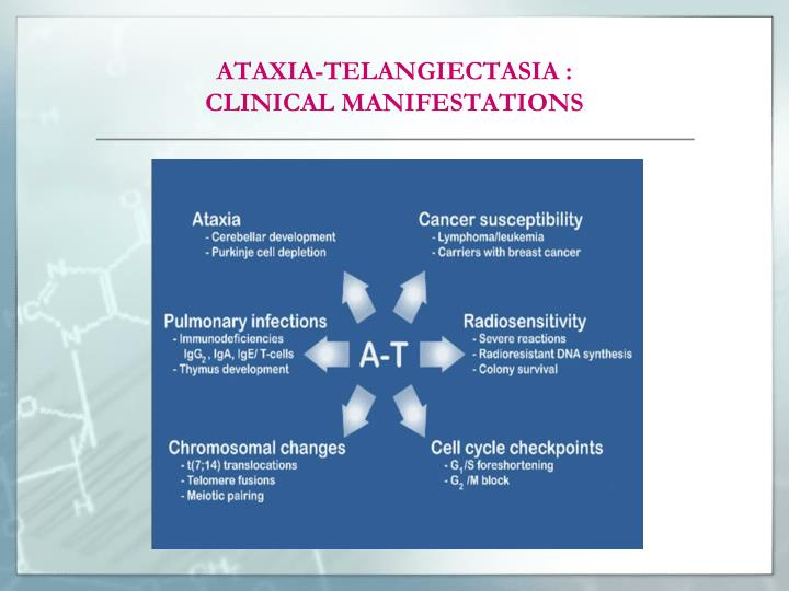 Ataxia telangiectasia clinical manifestations