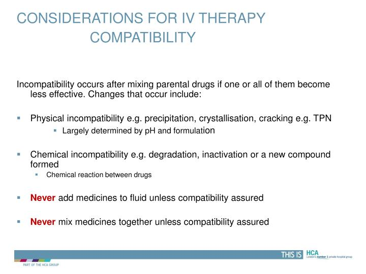 Considerations for IV therapy