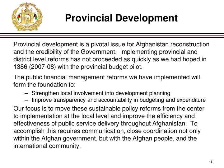 Provincial Development