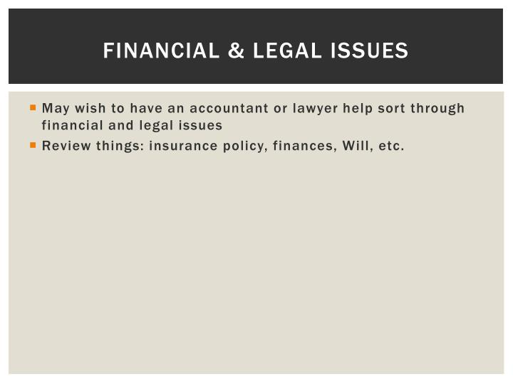 Financial & Legal Issues