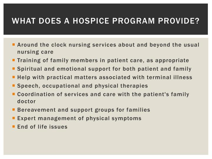 What does a Hospice Program Provide?