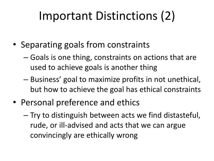 Important Distinctions (