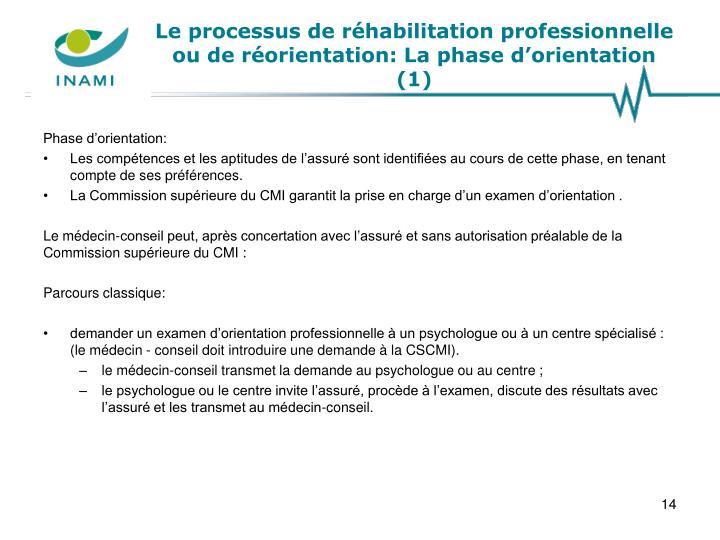 Le processus de réhabilitation professionnelle ou de réorientation: La phase d'orientation (1)