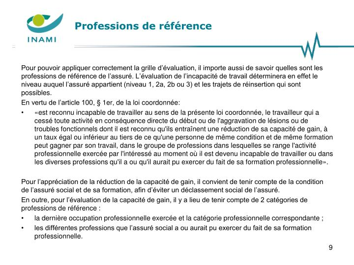 Professions de référence