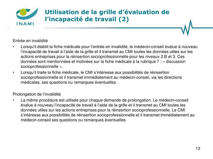 Utilisation de la grille d'évaluation de l'incapacité de travail (2)