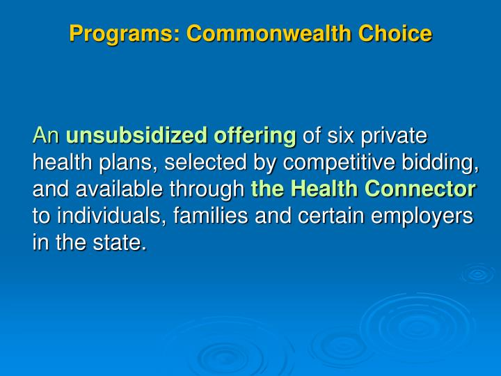 Programs: Commonwealth Choice