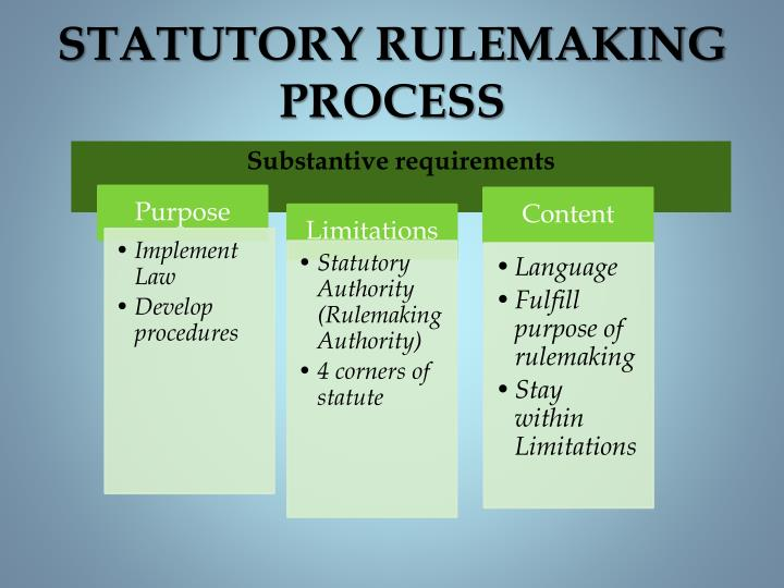 Statutory rulemaking process1