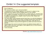 exhibit 14 one suggested template
