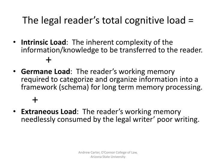 The legal reader's total cognitive load =