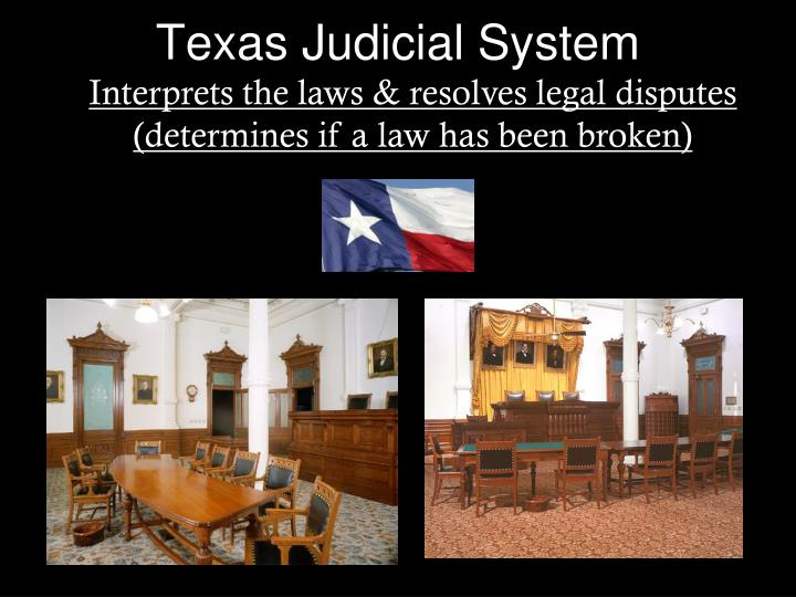 texas court system essay The criminal justice system has many components that make up its system the police, corrections, and the courts all play the role and act together in trying to.
