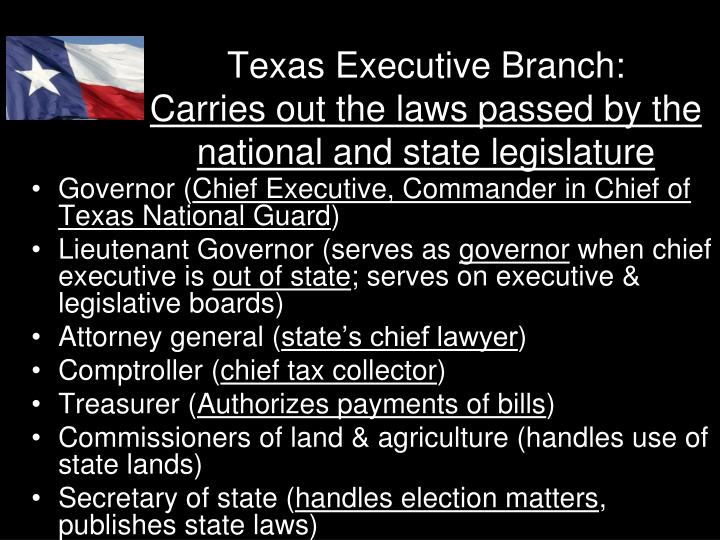 texas plural executive In a plural executive, the governor is but one of several elected officials (lt governor, attorney general,) who share power in the executive branch texas has a plural executive branch system which limits the power of the governor.