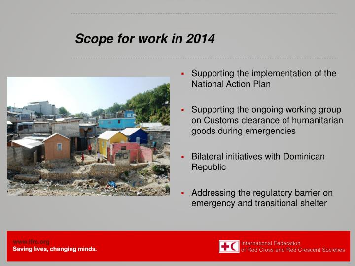 Scope for work in 2014