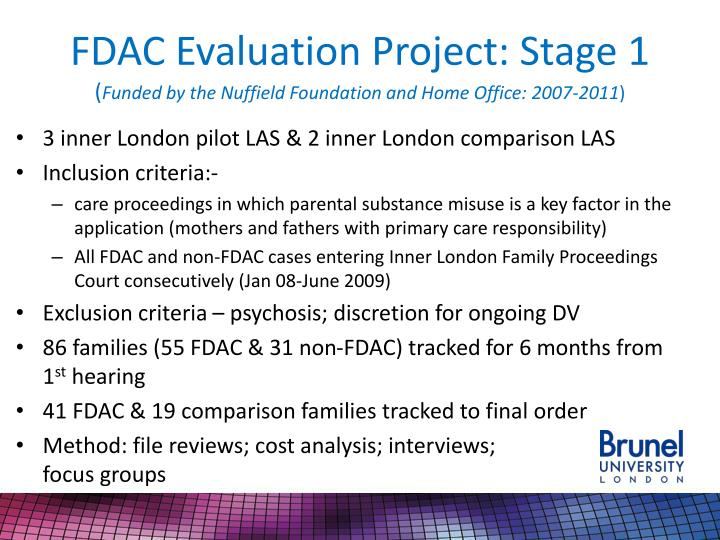 FDAC Evaluation Project: Stage 1