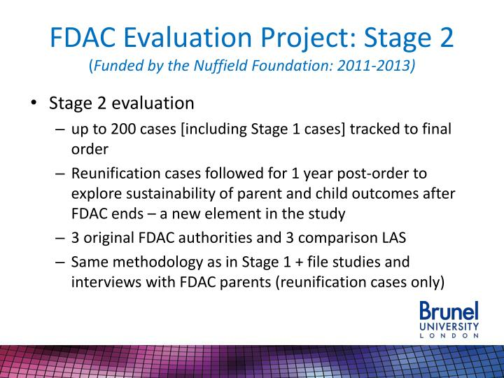 FDAC Evaluation Project: Stage 2