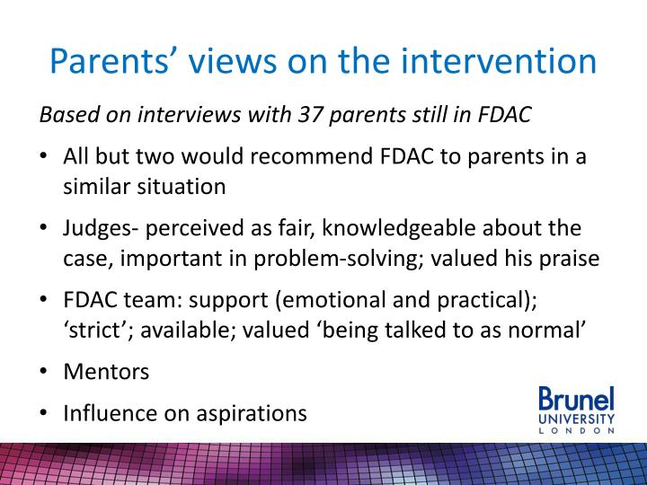 Parents' views on the intervention