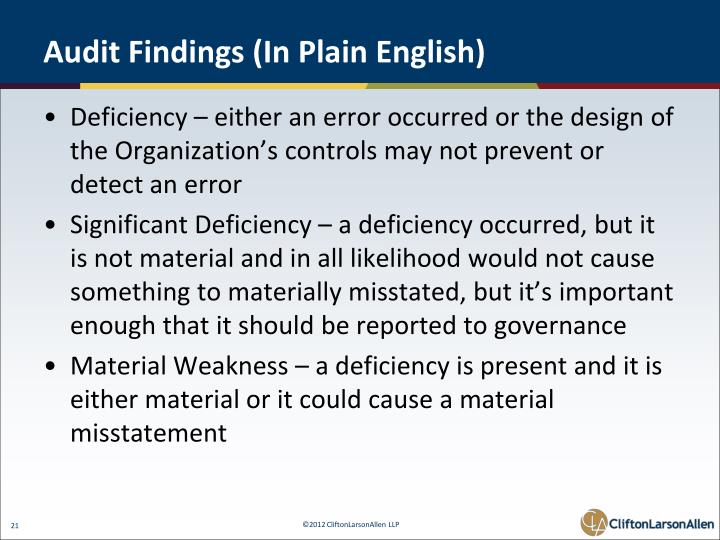 Audit Findings (In Plain English)