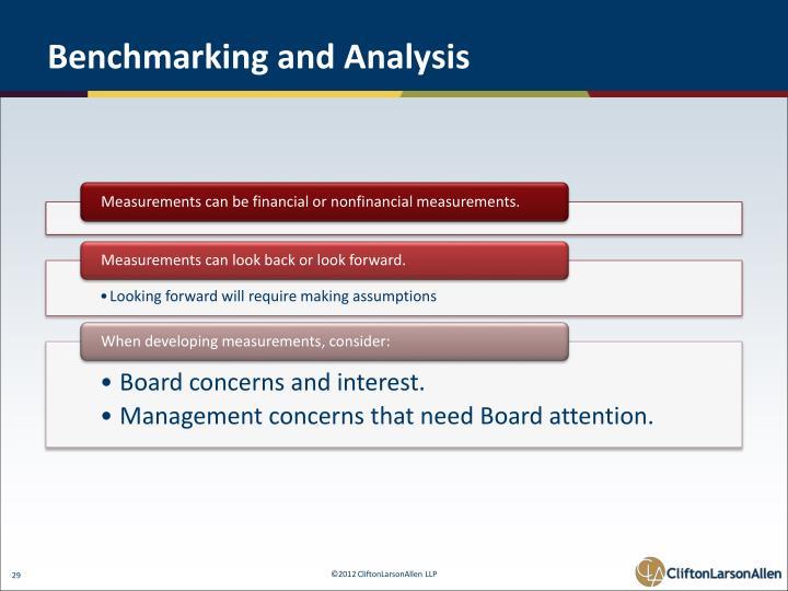 Benchmarking and Analysis