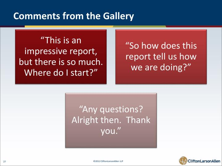 Comments from the Gallery