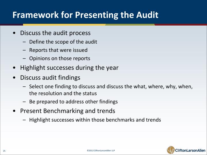 Framework for Presenting the Audit
