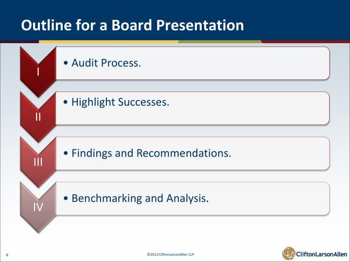 Outline for a Board Presentation