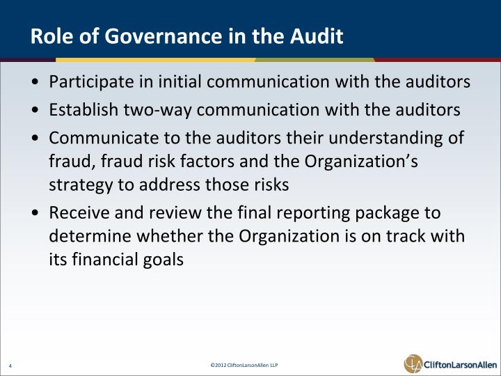 Role of Governance in the Audit