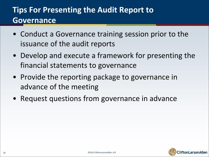 Tips For Presenting the Audit Report to Governance