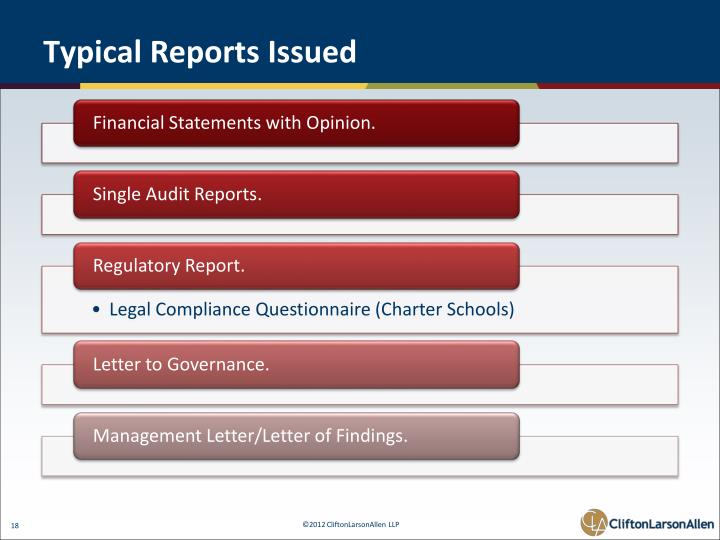 Typical Reports Issued