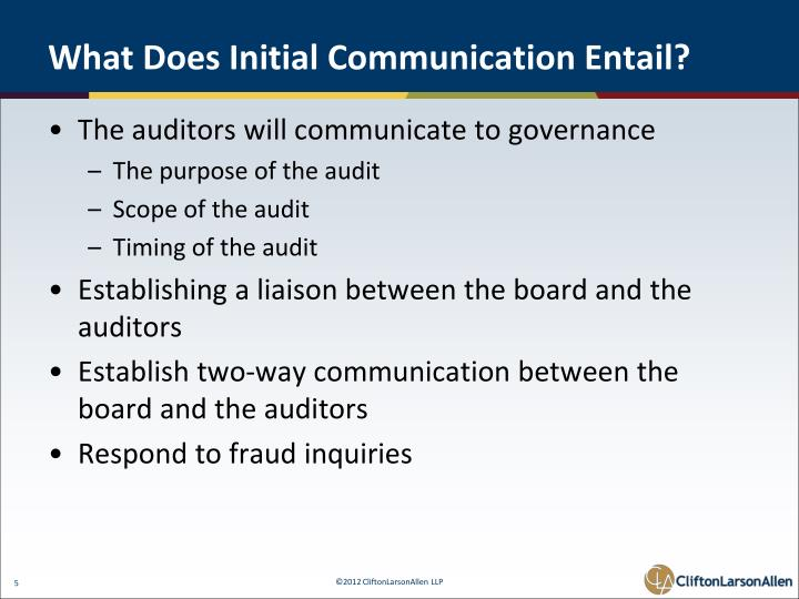 What Does Initial Communication Entail?