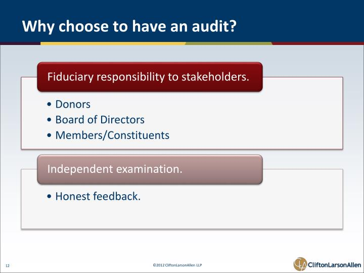 Why choose to have an audit?