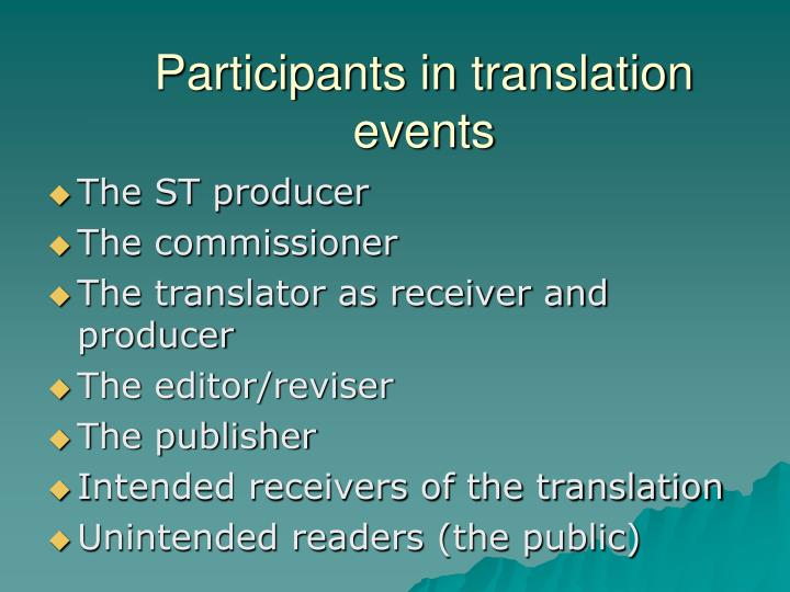 Participants in translation events
