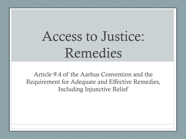 access to justice remedies