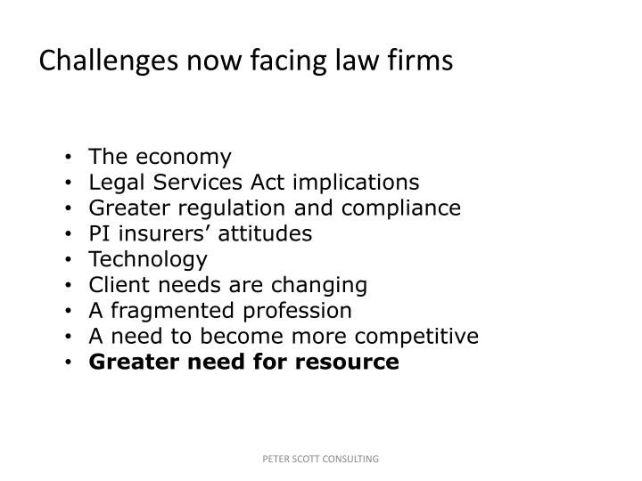 Challenges now facing law firms
