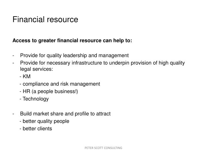 Financial resource
