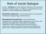 role of social dialogue
