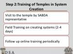 step 2 training of temples in system creation