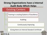 strong organizations have a internal audit body which helps