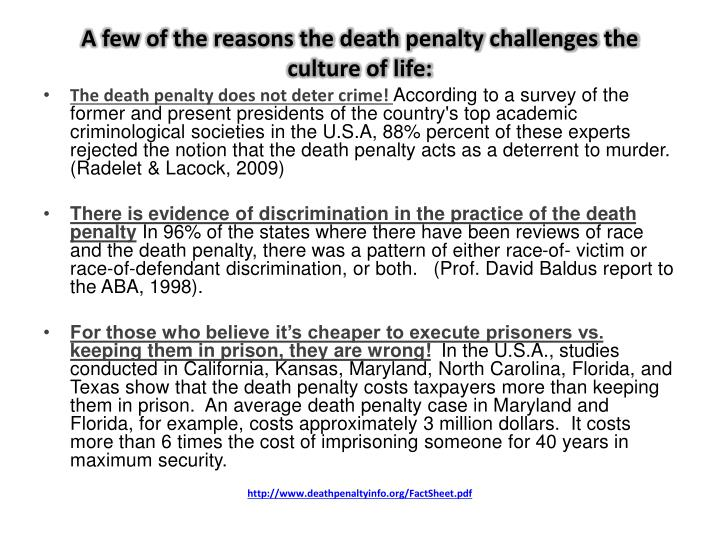 A few of the reasons the death penalty challenges the culture of life: