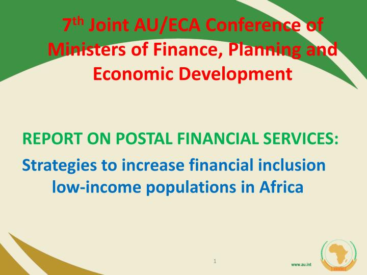 7 th joint au eca conference of ministers of finance planning and economic development n.