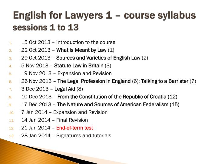 English for Lawyers 1 – course syllabus