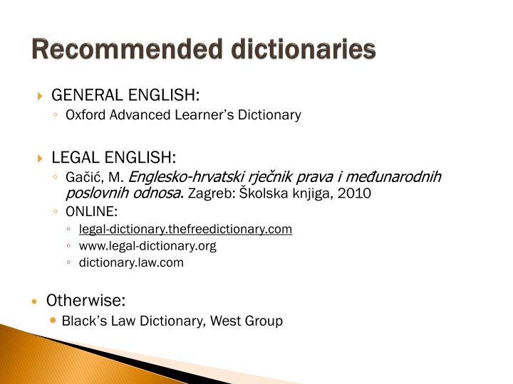 Recommended dictionaries