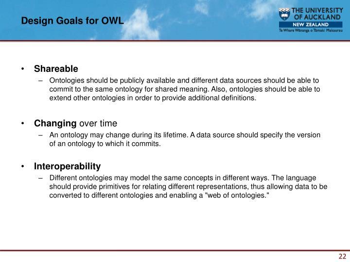 Design Goals for OWL
