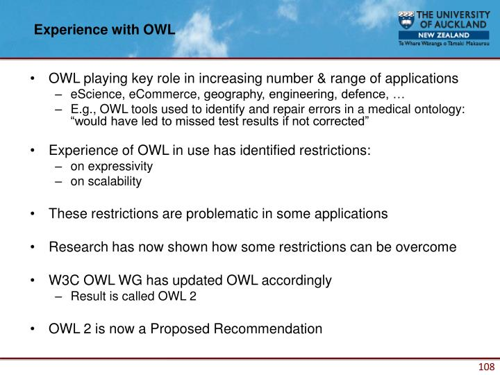 Experience with OWL